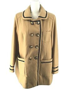 Angel Ribbons Womens Coat Size 16 Tan Polyester Button Up Lined Pockets