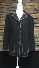 Hauber ALPACA Wool Charcoal Womens 14 Blazer with Whip Stitch Detail MOP Buttons