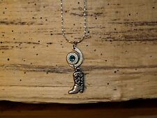 Silver Swirl 38 Bullet Necklace with Boot Charm (Nickel/Silver 38)  (N338)