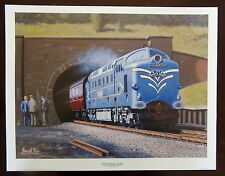 BEAUTIFUL PRINT PICTURE PAINTING STEAM TRAIN DELTIC PROTOTYPE THE WHITE ROSE