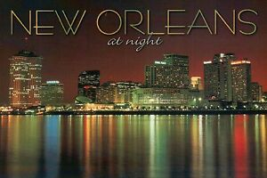 New Orleans Skyline at Night Louisiana, Lykes Building, Canal Place etc Postcard