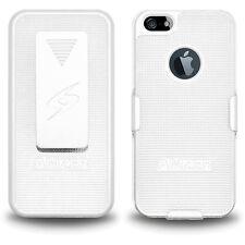 AMZER WHITE SHELLSTER SHELL CASE + BELT CLIP HOLSTER STAND FOR APPLE iPHONE 5S