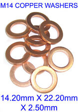 M14 Copper Sealing Washer 2.5mm Thick 22.2mm Diameter - Pack of 10