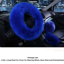 3 set Gem blue Furry Fluffy Thick Natural Wool Fur Car Steering Wheel Cover