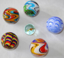 NEW 5 BEAUTIFUL HANDMADE GLASS MARBLES COLLECTORS ITEMS RAZZ RIALTO 25mm ETC HOM