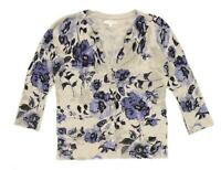 Kenar Womens Size M Floral Cotton Beige Cardigan (Regular)