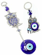 Set of 2~ Blue Evil Eye Crystal Owl Wall Hanging Amulets +Owl Key Ring Chain