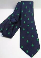 Cape Cod Mens Tie Navy Blue Christmas Trees Preppy Holiday Classic Hipster Style