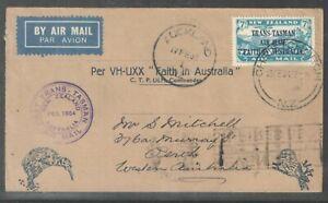 New Zealand 1934 7d TransTasman Air Mail on  FFC