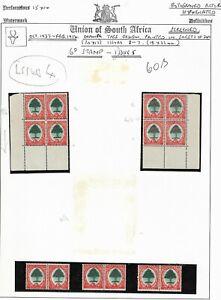 South Africa 1937-54 6d Orange Tree Issue 4 Pairs & Marginal Blocks Fine Mint