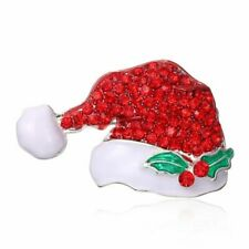 Lovely Holiday Christmas Xmas Cap Crystal Women Brooch Pin Breastpin Jewelry