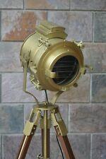 Antique Finish Big Floor Search Light & Lamp Vintage Spot Light Wooden Stand