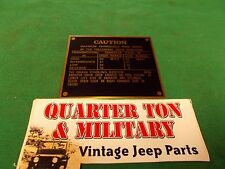 Jeep Willys Ford GPW Caution Road speed data plate Brass 1942 (P45)