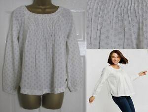 NEW Fat Face Ladies Diamond Print Blouse Top Ivory Lightweight Pleat Front 8-18