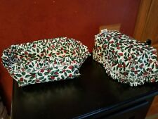 """2 Longaberger Basket Fabric Liners ~ Traditional Holly ~ 9"""" x 5.5"""" x 5"""""""