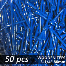 "X 50 GLOSS DEEP BLUE NEW GOLF TEE NATURAL WOODED TEES 3-1/4"" 80MM LONG LENGTH"