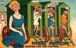 MIXED BATHING - WAITING FOR HER PARTNER 1907 COMIC POSTCARD FOLKESTONE MITCHAM