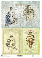 Rice Paper for Decoupage, Scrapbooking, Vintage Christmas Pictures A4 ITD R191