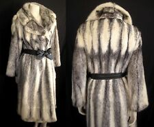 WHITE Black Cream Cross Canada Majestic MINK Fur Long Coat Jacket ~ Luxury Gift