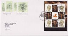 GB Royal mail FDC COVER 2000 tesoro di alberi Prestige riquadro Bureau PMK