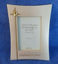"""Confirmed In Christ Dove Cross Picture Frame 9"""" x 6.5"""" Holds 4""""x6"""" Photo"""