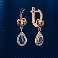 Ohrhänger Ohrringe Saphir und Diamanten russisches Rose Rotgold 585 Neu