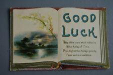 R&L Postcard: Greetings, Good Luck Open Antique Book Design, German print