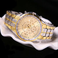 Men's Luxury Date Gold Dial Stainless Steel Analog Quartz Wrist Watches Fine Y7