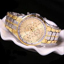 Men's Luxury Date Gold Dial Stainless Steel Analog Quartz Wrist Watches Fine Y7