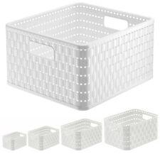 Aufbewahrungskorb weiß Korb aus Kunststoff Regalkorb Plastik Ordnungsbox Rattan5
