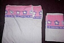 Hello Kitty 2pc Twin Sheet Set Flat Sheet Pillowcase Pink purple Dot 2000 Fabric