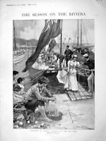 Old Antique Print 1898 Yachting Cannes Quay France Prince Wales Lambert 19th