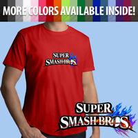 Super Smash Bros Nintendo Logo Symbol Game Title Unisex Mens Tee Crew T-Shirt