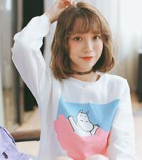 HOT Cute Harajuku Ropa Moomin Pink Blue Clouds Hoodie Women Girls Sweater Tops