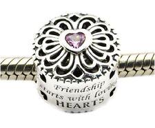 LOVE & FRIENDSHIP PINK CZ .925 Sterling Silver European Charm Bead U2