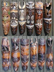 African mask wood carving Hand carved painted wall hanging wooden ornament 50cm