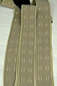 Gillmon's Vintage Suspenders Beige with Diamond Design Dark Brown Leather Trim
