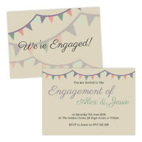 Personalised engagement party invitations PASTEL BUNTING VINTAGE FREE ENVELOPES