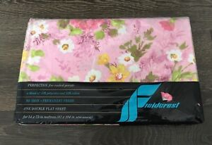 Vintage Fieldcrest Perfection Percale Pink Floral Double FLAT Bed Sheet - NEW