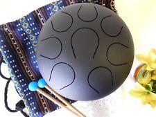 Wuyou 10in Handmade Tongue Drum Hanpan Drum, peaceful sound, Black