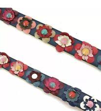 Fendi Flower Studs Strap You Shoulder Strap Leather Multi Color