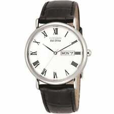 Citizen Mens Eco-Drive Black Leather Strap Watch