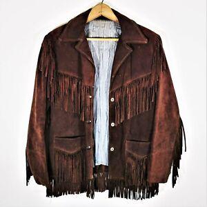 Vintage 60s 70s Suede Leather Fringe Jacket Vtg Hippy Boho Western USA Sz 10