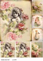 Rice paper decoupage 160899 napkin vintage roses girl Decoupage supplies