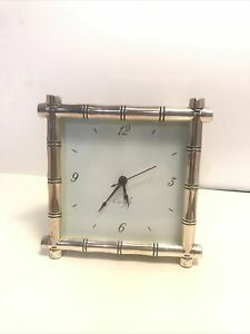 Pottery Barn Silver Plated Bamboo Clock Carlyle Alarm Table Desk Tested