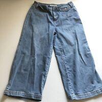 Chicos Platinum Denim Crop Blue Jeans Sz 0.5 A203