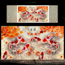 Chinese Silk Scroll Painting Fish Home Office Decoration(九鱼图)
