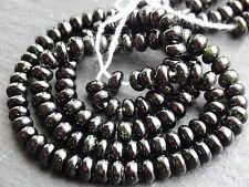 """Black tourmaline rondelles (avec des notes de vert), environ 5mm, 15"""", 110 perles"""