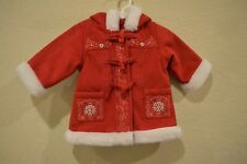 CHRISTMAS WINTER BABY GAP Girl 0-6 Months Red Coat Jacket faux fur suede-like