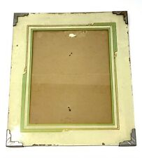Vintage Art Deco Reverse Painted Frame 11x13 Inch Ivory Silver Corners 1920's